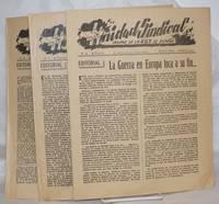 image of Unidad Sindical. Organo de la U.G.T. de Espana.  No 6 - 3 Francs. No editado para la venta al publico - 1 Mayo 1945 - Marsella -[with]- No 7 - Junio 1945 -[with]- No 8 - Julio 1945 [3 issues together]