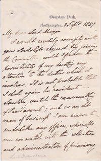 AUTOGRAPH LETTER SIGNED BY BRITISH ECONOMIST  SAMUEL LOYD JONES, LORD OVERSTONE.
