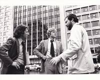 image of All the President's Men (Original photograph of Alan J. Pakula, Dustin Hoffman, and Robert Redford on location for the 1976 film)