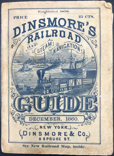 New York: Dinsmore & Co, 1860. 16mo. 240 pp. Illustrated advertisements on yellow paper, large foldi...