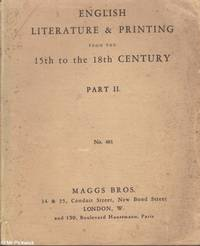 English Literature & Printing from the 15th to the 18th Century. Part II (no. 481)