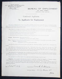 image of Confidential Application [application for employment to YMCA Department of Service]