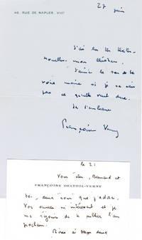 Quatre lettres (2 lettres autographes, 2 lettres dactylographiées) signées à l'écrivain Christian Maurel