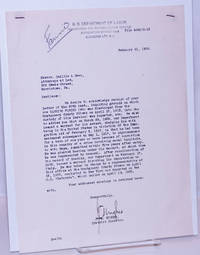 image of Letter regarding the arrest, imprisonment and deportation of one Carmine Farino