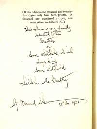 THE WORKS OF GEORGE BERNARD SHAW: 33 volumes, EACH Volume Inscribed to Shaw's Favorite Actress Lillah McCarthy