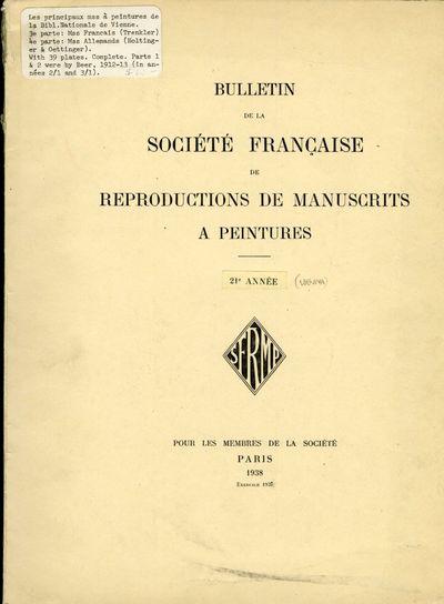 Paris: Pour les Membres de la Societé, 1938. First Edition. Softcover. Very Good Condition. Softcov...