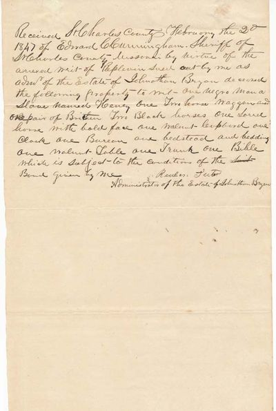 Confidant of Missouri pioneer Jonathan Bryan (1759-1846) of the noted St. Charles family whose relat...