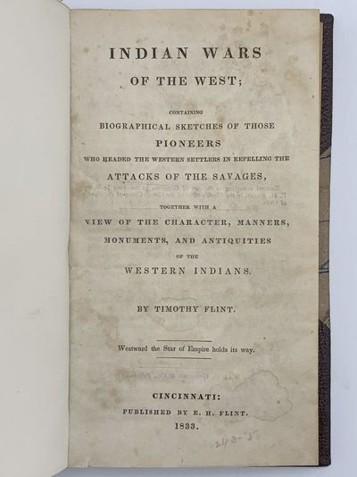 Cincinnati: E. H. Flint, 1833. Minor browning, a few stains to title. 12mo. 240 pages. 20th-century ...