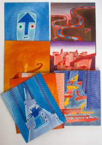 Tiré à part des planches de Jean-Michel Folon pour l'agenda Olivetti 1969, montées sur carton. La Vie sentimentale de J. M. Folon / Vita, anche sentimentale, di J. M. Folon