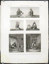 Arts et Metiers. 1. L'Arconneur de Coton. 2.3. Le Fileur et la Devideuse de Laine. 4.5. Le Tourneur et le Serrurier en Bois.