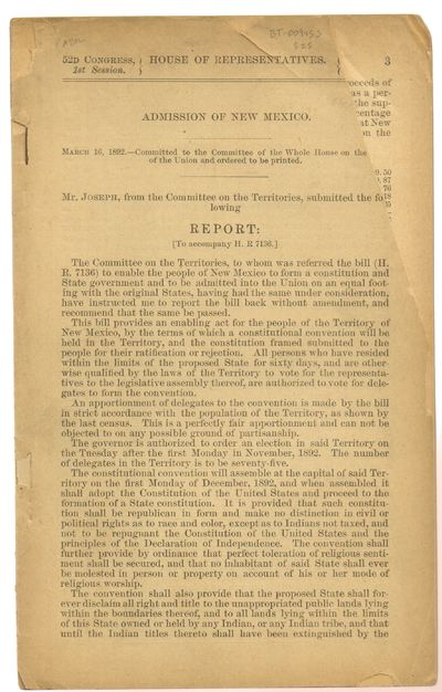 Washington D. C.. Fair. 1892. Softcover. Stapled pamphlet without wraps. First page separated. Pages...