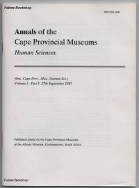 ANNALS OF THE CAPE PROVINCIAL MUSEUMS. Volume 1. Part 5.