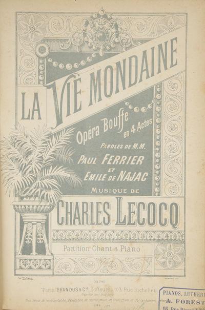 Paris: Brandus & Cie. , 1888. Large octavo. Quarter green calf with green textured paper boards, tit...