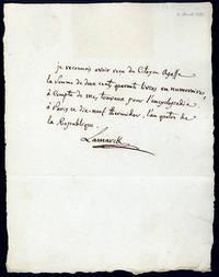 Autograph receipt signed