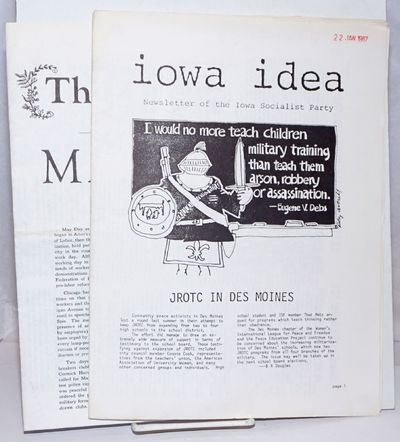 Iowa City, IA: Iowa Socialist Party, 1987. Two issues of the newsletter, Volume 9 No.1, January 1987...
