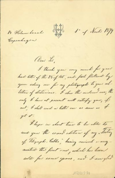 1879. Very Good. Hoskiaer, Otto Valdemar. A.L.s. to an unnamed recipient, probably Latimer Clark. Co...