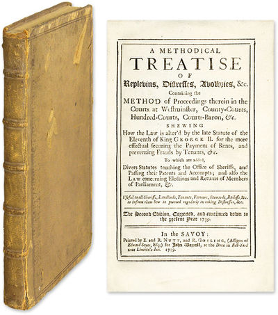 1739. London, 1739. 2d & last ed.. London, 1739. 2d & last ed. The Law of Replevin in the Early Eigh...