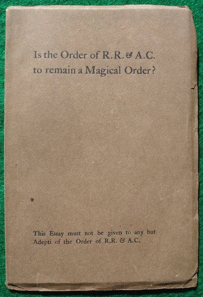 Is the Order of the R. R & A. C. to...
