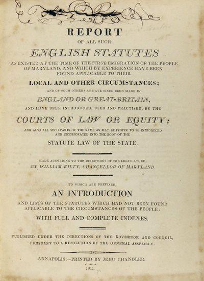 Annapolis: Jehu Chandler, 1811. Hardcover. Very Good. Hardcover. Thomas J. Pratt's copy with his own...