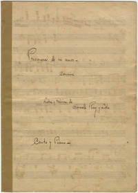 Prisionera, de mi amor - Cancion Letra y Musica, de Gonzaló Roig y Lobo Canto y Piano. Song for voice and piano. Autograph musical manuscript. Signed and dated September 2, 1948