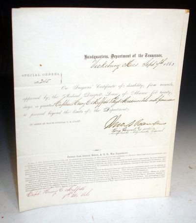 1863. 1 page document, signed by General John a. Rawlings who was the close friend of U.S. Grant who...