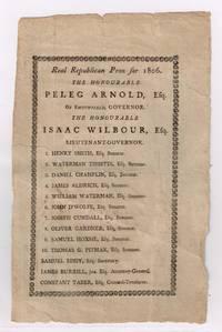Peleg Arnold for Governor 1806 Broadside Smithfield RI