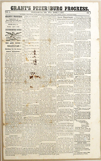 Petersburg, VA: Eden & McCreery, 1865. First edition. framed. EXTREMELY RARE FIRST ISSUE OF