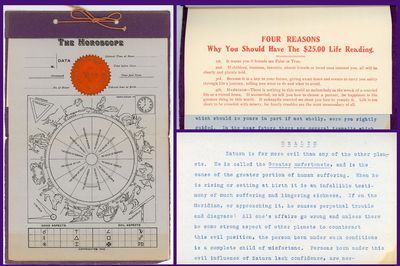 Chicago IL, 1904. 8 manuscript page report. Begins with a birth chart and Aspects nad Positions of t...
