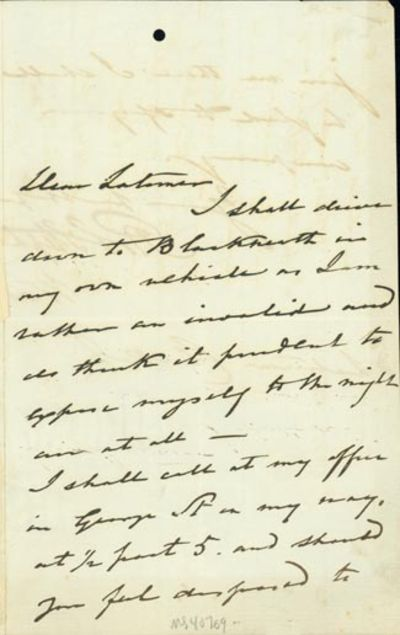 1858. Very Good. Stephenson, Robert (1803-59). A.L.s. to Latimer Clark. N.p., n.d. . 1- pp. 203 x 12...