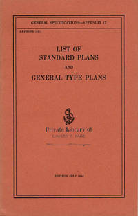 List of Standard Plans and General Type Plans (General Specifications: Appendix 17)