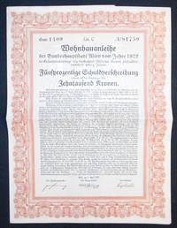 image of Wohnbauanleihe der Bundeshauptstadt Wien vom Jahre 1922 im Gesamtnenbetrage von dreitausend Millionen Kronen, rückzahlbar innerhalb sechzig Jahren: Fünfprozentige Schuldverschreibung lautend auf den Überbringer über Zehntausend Kronen