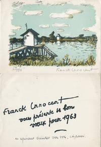 Franck Innocent : carte de voeux autographe signée et Lithographie
