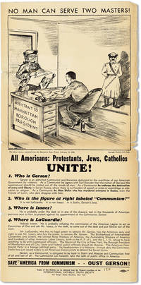Broadside: No Man Can Serve Two Masters! All Americans: Protestants, Jews, Catholics Unite!