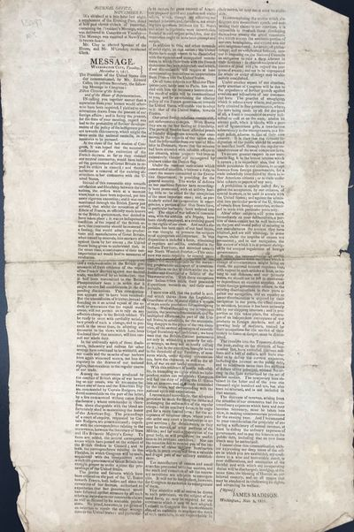 NP : Journal Office, 1811. Broadside, 45 x 28 cm., text printed in three columns. Signed in type by ...