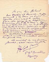 Early Autograph Letter Signed with Musical Quotation, in French, 4to, Neuilly, n.d,. but 1913