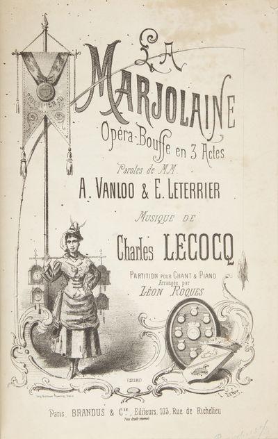 Paris: Brandus & Cie. , 1877. Large octavo. Quarter dark red pebbled cloth with marbled boards, titl...