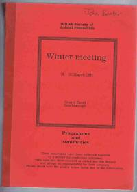 British Society of Animal Production Winter Meeting 1991: Programme and Summaries