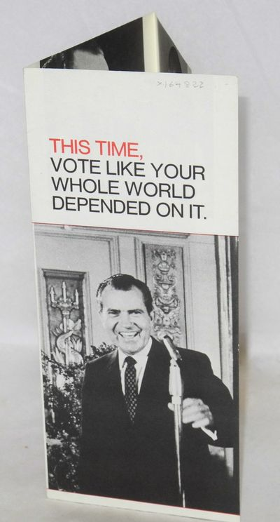 New York: Nixon / Agnew Campaign Committee, 1968. 8.5x11 inch sheet folded to three panel brochure, ...