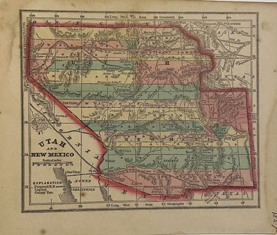 New York: Samuel Gaston, 1857. unbound. Miniature map. Engraving with original hand coloring. Image ...