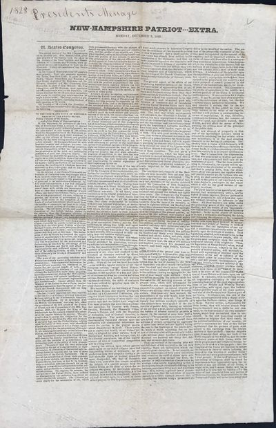 pp., printed in four columns. Old fold lines, slightly rumpled, manuscript note across top page mar...