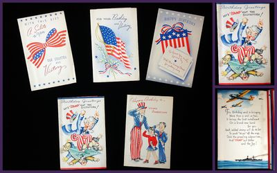 Abaa 5 different greeting cards promoting us war savings bonds w 5 different greeting cards promoting us war savings bonds w inserts stamp out dictators m4hsunfo