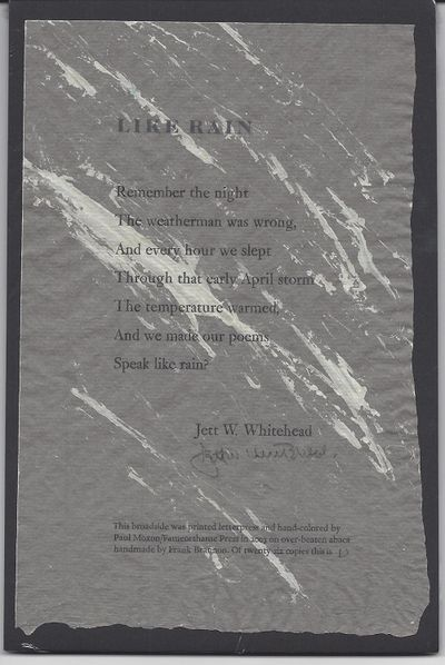 Paul Moxon/Fameorshame Press, 2003. 1st edition, limited (1/26) lettered and signed, broadside. Desi...