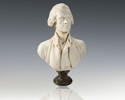 Fine porcelain bust of Founding Father Thomas Jefferson. Parian porcelain mounted on a marble base. ...