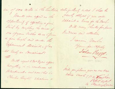 1865. Very Good. Baggs, Isham. A.L.s. to Latimer Clark. London, July 19, 1865. 4pp. 201 x 127 mm. Sm...