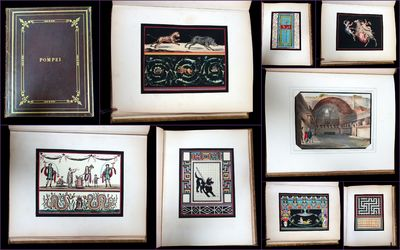 1891. General wear. . A souvenir album of Pompeii, featuring 15 hand finished Pochoir illustrations ...