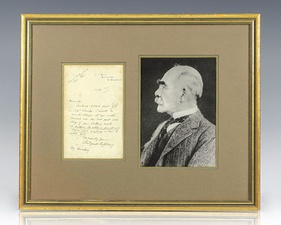 1897. Rare autograph letter signed and entirely in the hand of Nobel Prize-winning author Rudyard Ki...