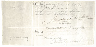 January 19, 1830. Rare military document signed by Andrew Jackson as President and Martin Van Buren ...