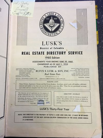 Washington, DC: Rufus S. Lusk & Son, Inc, 1960. folio, 787pp.; G; 1/4 bound with maroon cloth spine ...