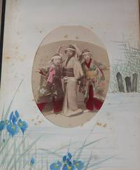 Japanese Lacquer Photo Album with Watercolor Vignettes on Borders, with Original Box