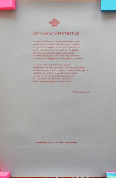 No Place: Blue Chair Press, No Date. First edition. Loose Sheets. Fine. Tall, single sheet of blue p...